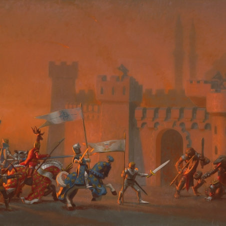 The Crusaders Entering Constantinople, 2015, oil on linen, Signed bottom right, 18 x 30 inches
