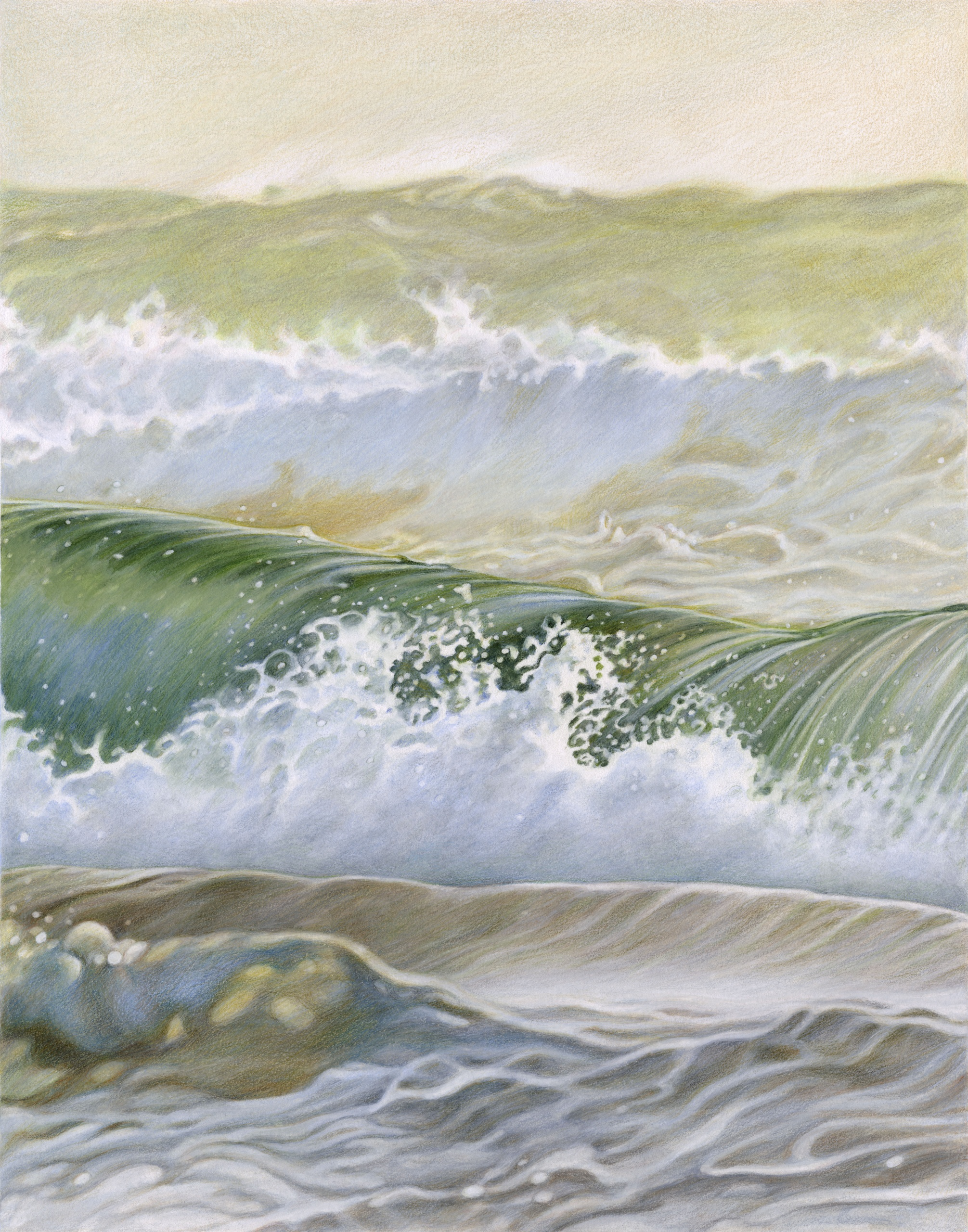 Ocean II,  2021, Colored pencil on mixed media board, 14 x 11 inches