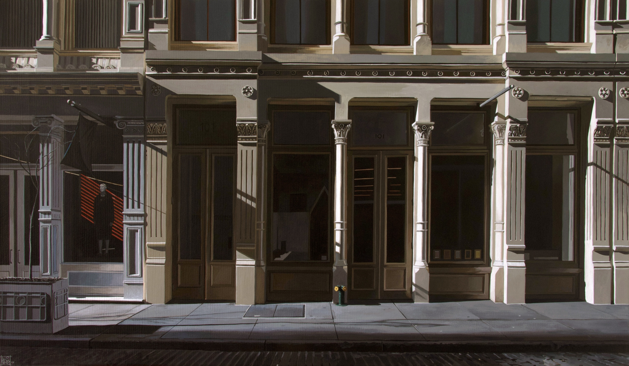 101 Greene Street, 1:33pm, Acrylic on canvas, 18 x 32 inches
