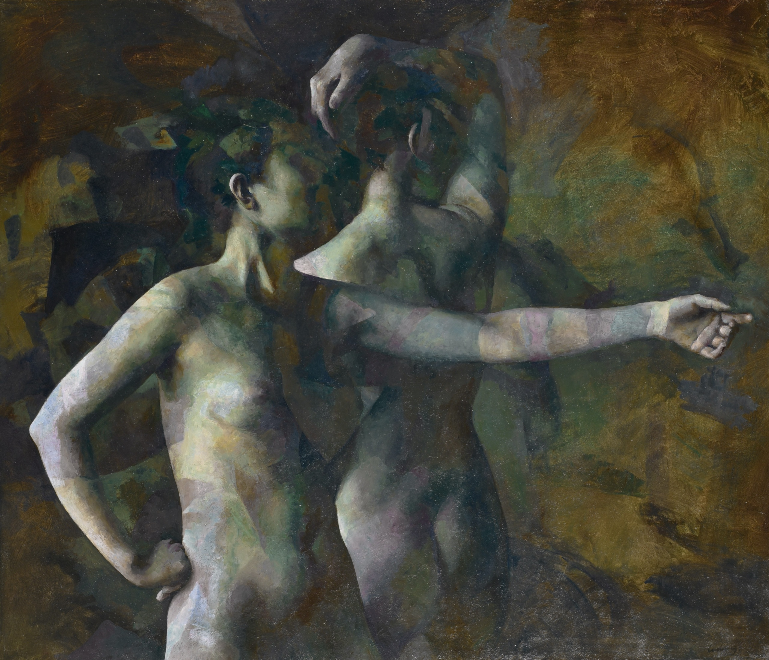 Two Women, Oil on board, 37.5 x 44 inches